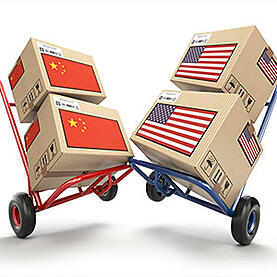 packages with Chinese flag and American flag