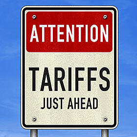 Attention Tariffs Ahead road sign