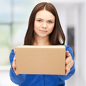 woman holding box